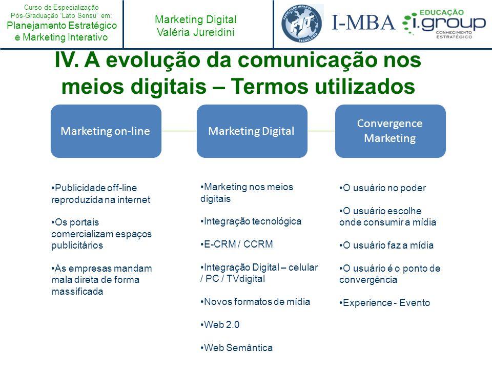 Curso de Especialização Pós-Graduação Lato Sensu em: Planejamento Estratégico e Marketing Interativo I-MBA Marketing Digital Valéria Jureidini Marketi