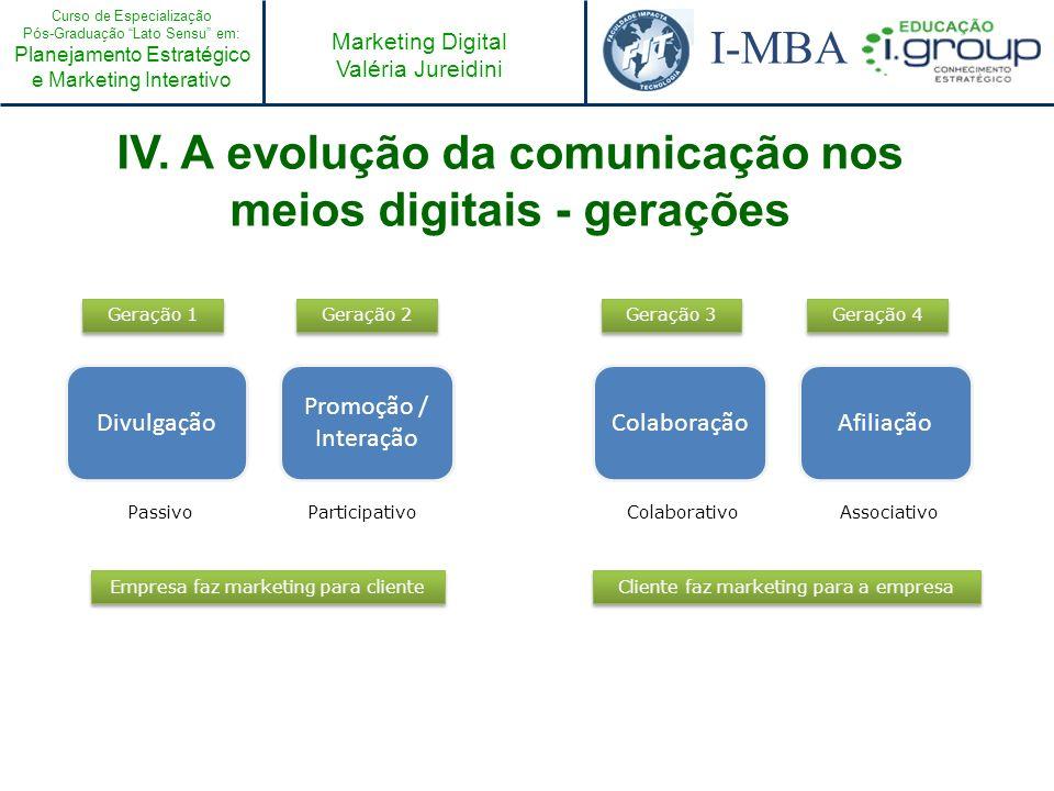 Curso de Especialização Pós-Graduação Lato Sensu em: Planejamento Estratégico e Marketing Interativo I-MBA Marketing Digital Valéria Jureidini Divulga