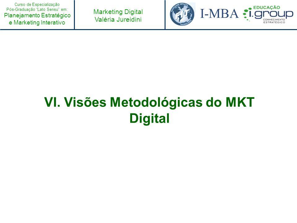 Curso de Especialização Pós-Graduação Lato Sensu em: Planejamento Estratégico e Marketing Interativo I-MBA Marketing Digital Valéria Jureidini VI. Vis