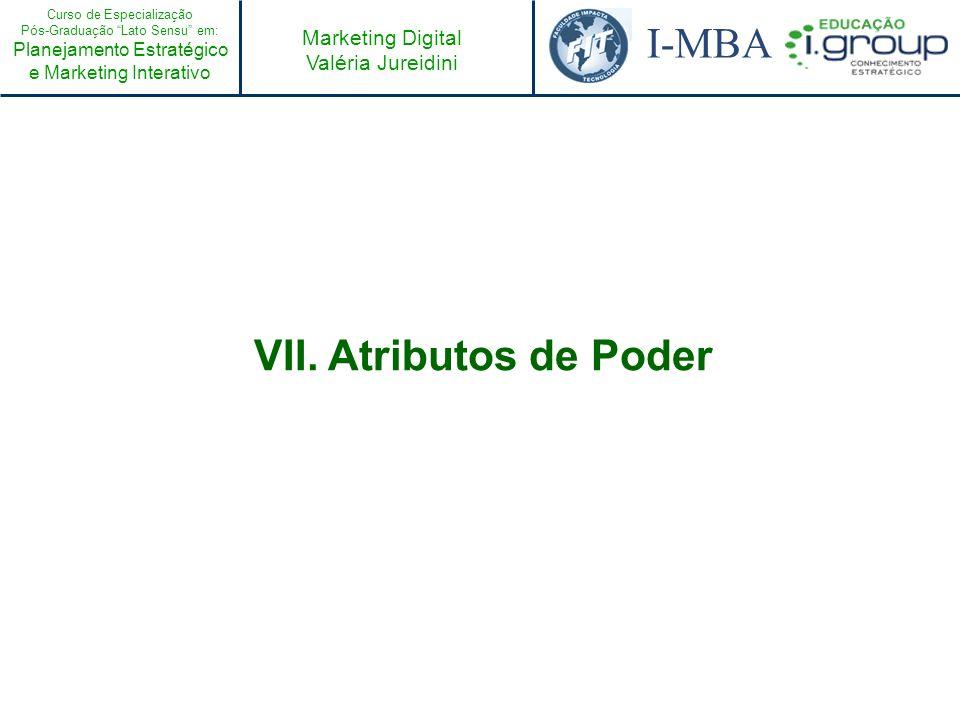 Curso de Especialização Pós-Graduação Lato Sensu em: Planejamento Estratégico e Marketing Interativo I-MBA Marketing Digital Valéria Jureidini VII. At