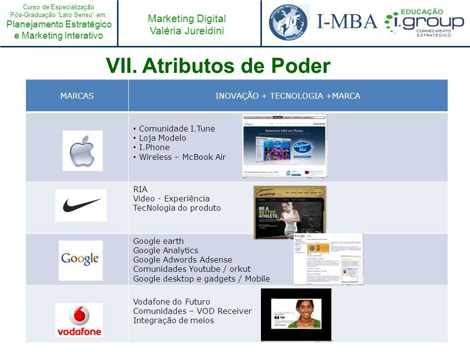 Curso de Especialização Pós-Graduação Lato Sensu em: Planejamento Estratégico e Marketing Interativo I-MBA Marketing Digital Valéria Jureidini MARCASI