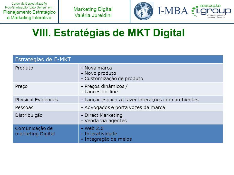 Curso de Especialização Pós-Graduação Lato Sensu em: Planejamento Estratégico e Marketing Interativo I-MBA Marketing Digital Valéria Jureidini VIII. E