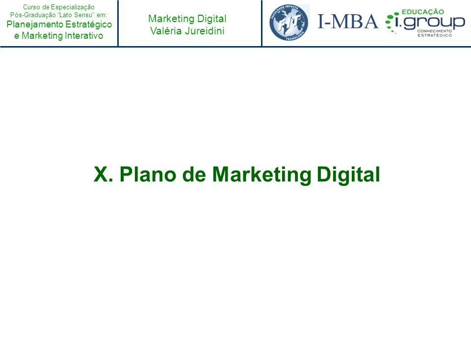 Curso de Especialização Pós-Graduação Lato Sensu em: Planejamento Estratégico e Marketing Interativo I-MBA Marketing Digital Valéria Jureidini X. Plan
