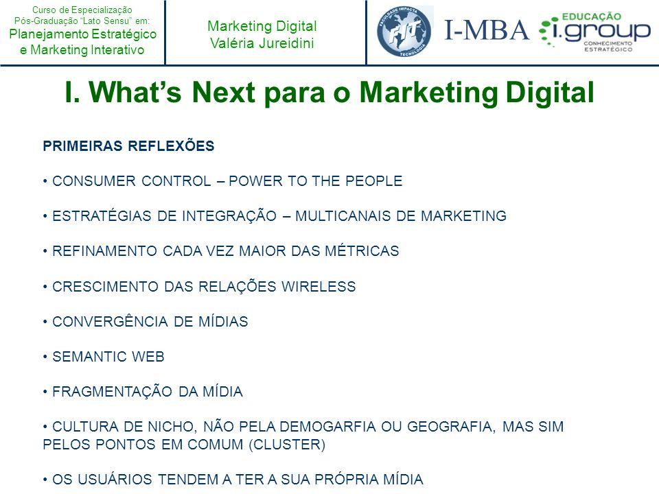 Curso de Especialização Pós-Graduação Lato Sensu em: Planejamento Estratégico e Marketing Interativo I-MBA Marketing Digital Valéria Jureidini II.