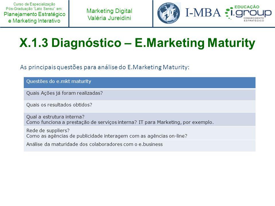 Curso de Especialização Pós-Graduação Lato Sensu em: Planejamento Estratégico e Marketing Interativo I-MBA Marketing Digital Valéria Jureidini Questõe