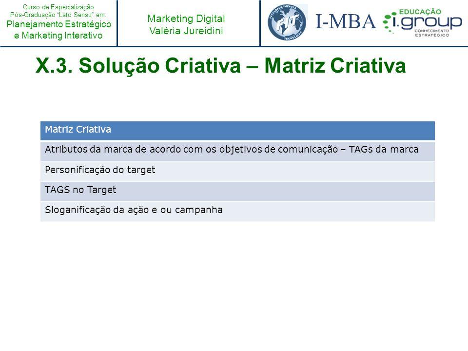 Curso de Especialização Pós-Graduação Lato Sensu em: Planejamento Estratégico e Marketing Interativo I-MBA Marketing Digital Valéria Jureidini X.3. So