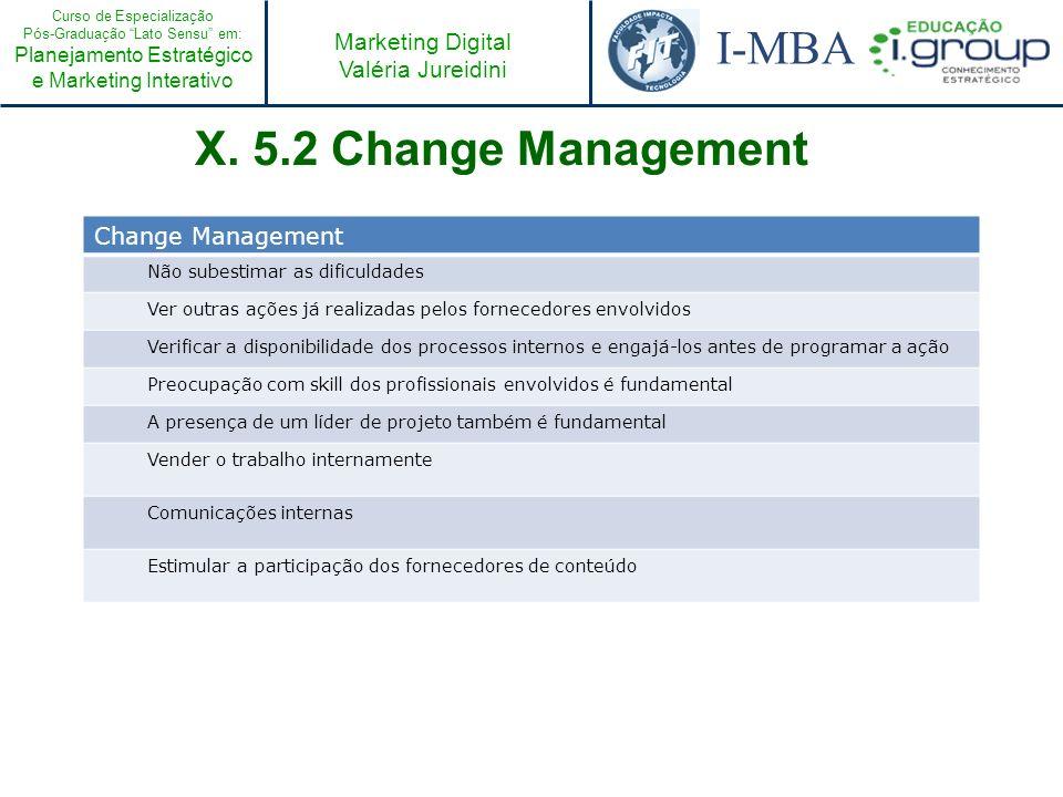 Curso de Especialização Pós-Graduação Lato Sensu em: Planejamento Estratégico e Marketing Interativo I-MBA Marketing Digital Valéria Jureidini Change