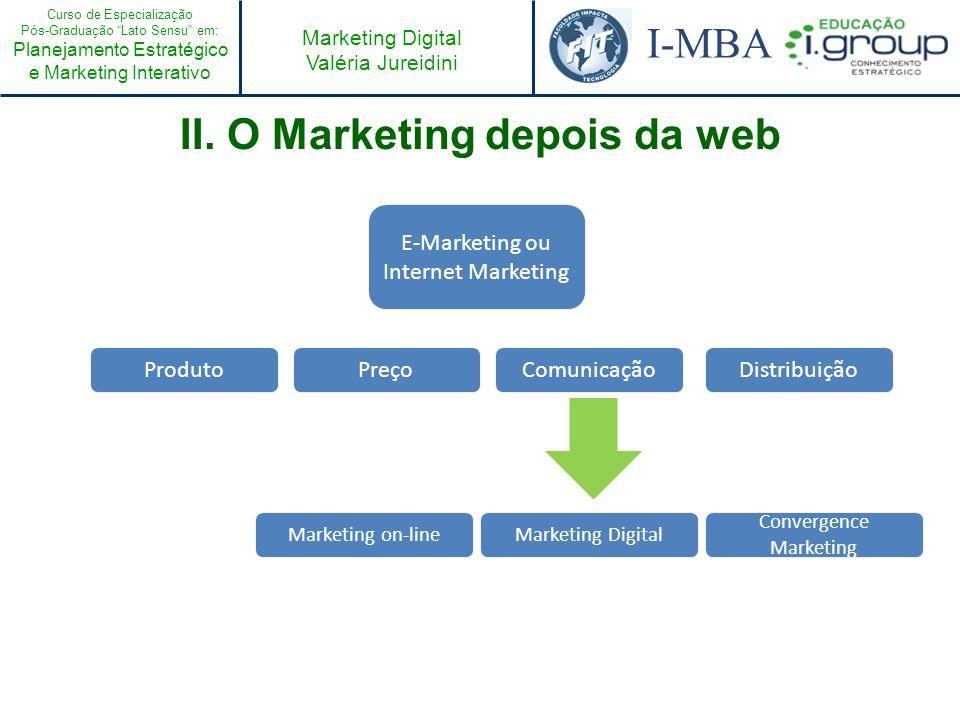 Curso de Especialização Pós-Graduação Lato Sensu em: Planejamento Estratégico e Marketing Interativo I-MBA Marketing Digital Valéria Jureidini III.