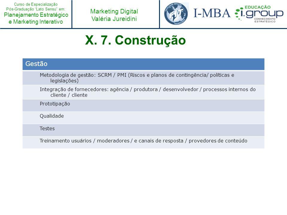 Curso de Especialização Pós-Graduação Lato Sensu em: Planejamento Estratégico e Marketing Interativo I-MBA Marketing Digital Valéria Jureidini X. 7. C