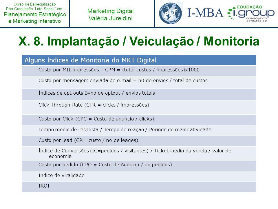 Curso de Especialização Pós-Graduação Lato Sensu em: Planejamento Estratégico e Marketing Interativo I-MBA Marketing Digital Valéria Jureidini X. 8. I