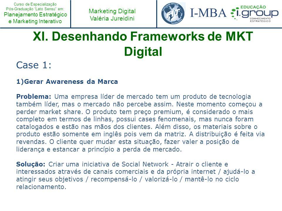 Curso de Especialização Pós-Graduação Lato Sensu em: Planejamento Estratégico e Marketing Interativo I-MBA Marketing Digital Valéria Jureidini XI. Des