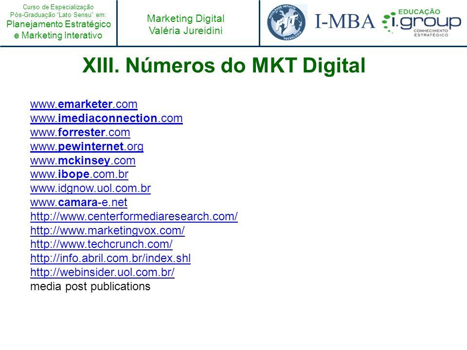 Curso de Especialização Pós-Graduação Lato Sensu em: Planejamento Estratégico e Marketing Interativo I-MBA Marketing Digital Valéria Jureidini XIII. N