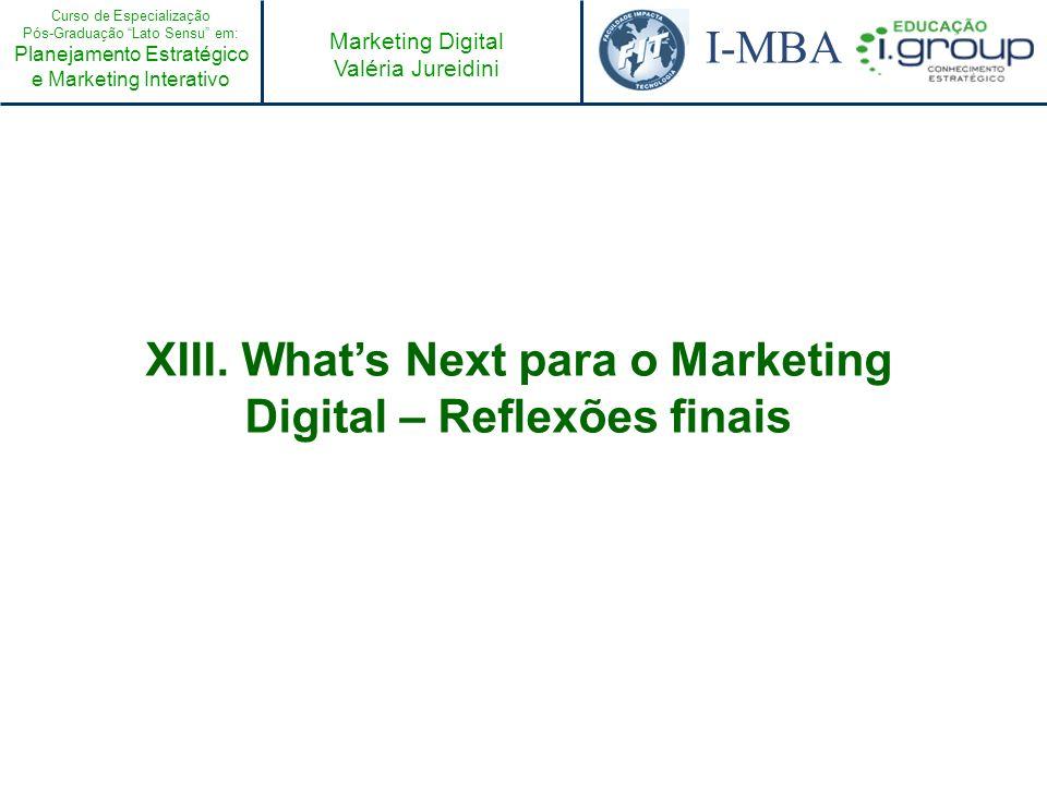 Curso de Especialização Pós-Graduação Lato Sensu em: Planejamento Estratégico e Marketing Interativo I-MBA Marketing Digital Valéria Jureidini XIII. W