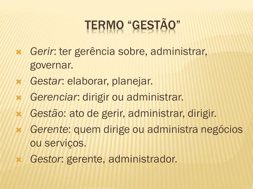 Gerir: ter gerência sobre, administrar, governar. Gestar: elaborar, planejar. Gerenciar: dirigir ou administrar. Gestão: ato de gerir, administrar, di