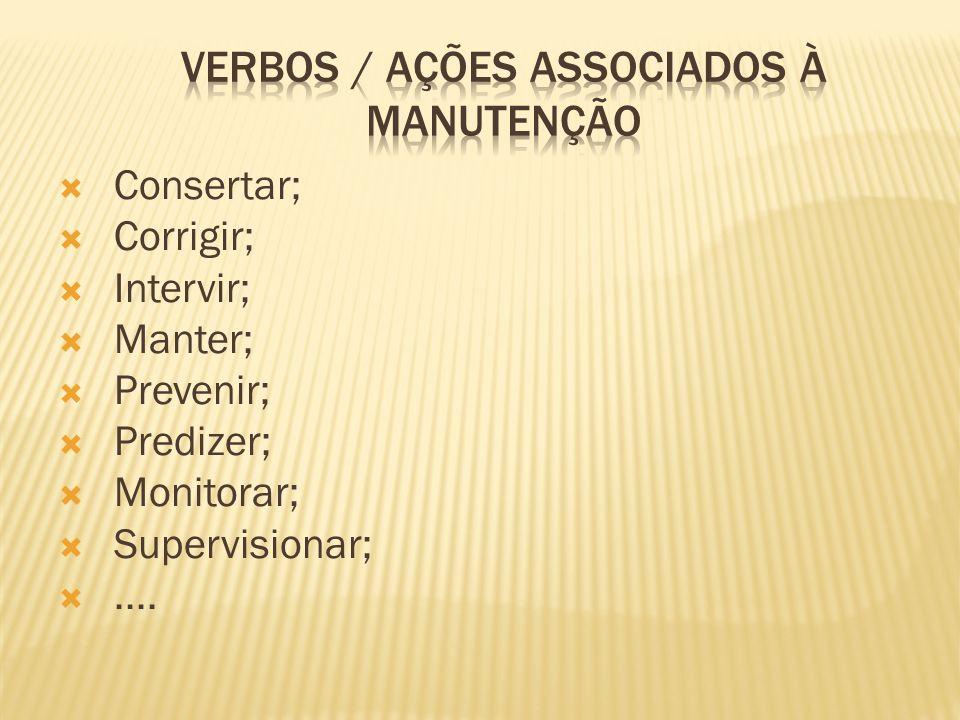 Consertar; Corrigir; Intervir; Manter; Prevenir; Predizer; Monitorar; Supervisionar;....