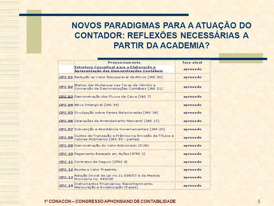 NOVOS PARADIGMAS PARA A ATUAÇÃO DO CONTADOR: REFLEXÕES NECESSÁRIAS A PARTIR DA ACADEMIA.