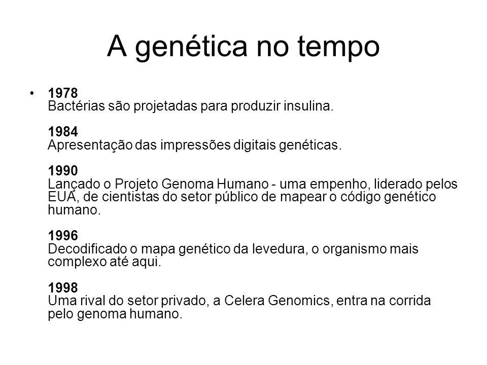A genética no tempo 1978 Bactérias são projetadas para produzir insulina. 1984 Apresentação das impressões digitais genéticas. 1990 Lançado o Projeto