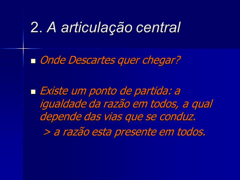2. A articulação central Onde Descartes quer chegar? Onde Descartes quer chegar? Existe um ponto de partida: a igualdade da razão em todos, a qual dep