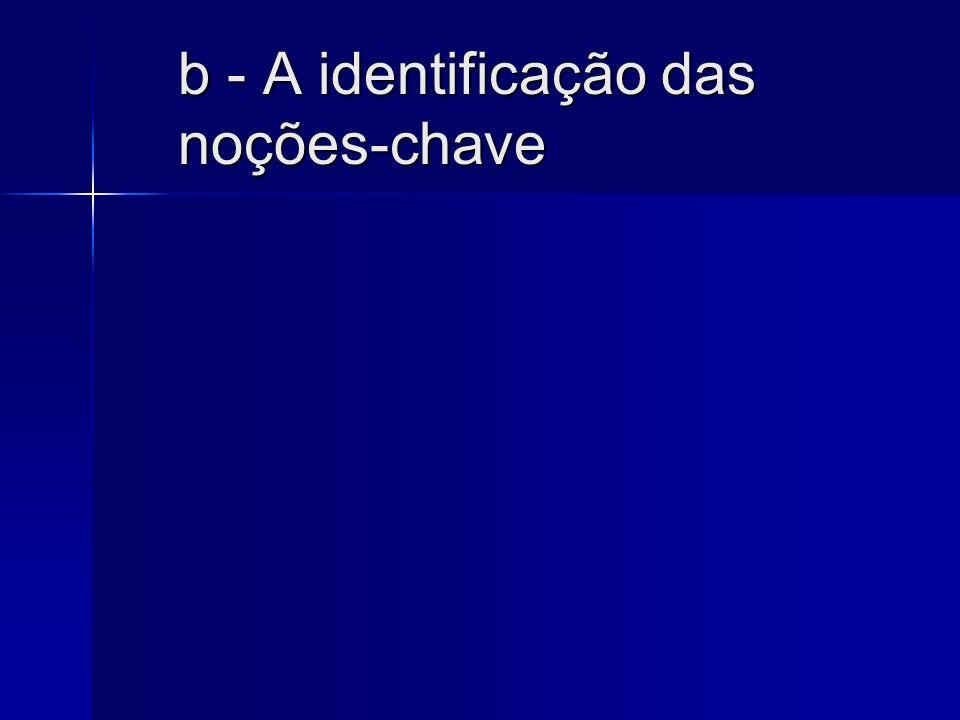 b - A identificação das noções-chave