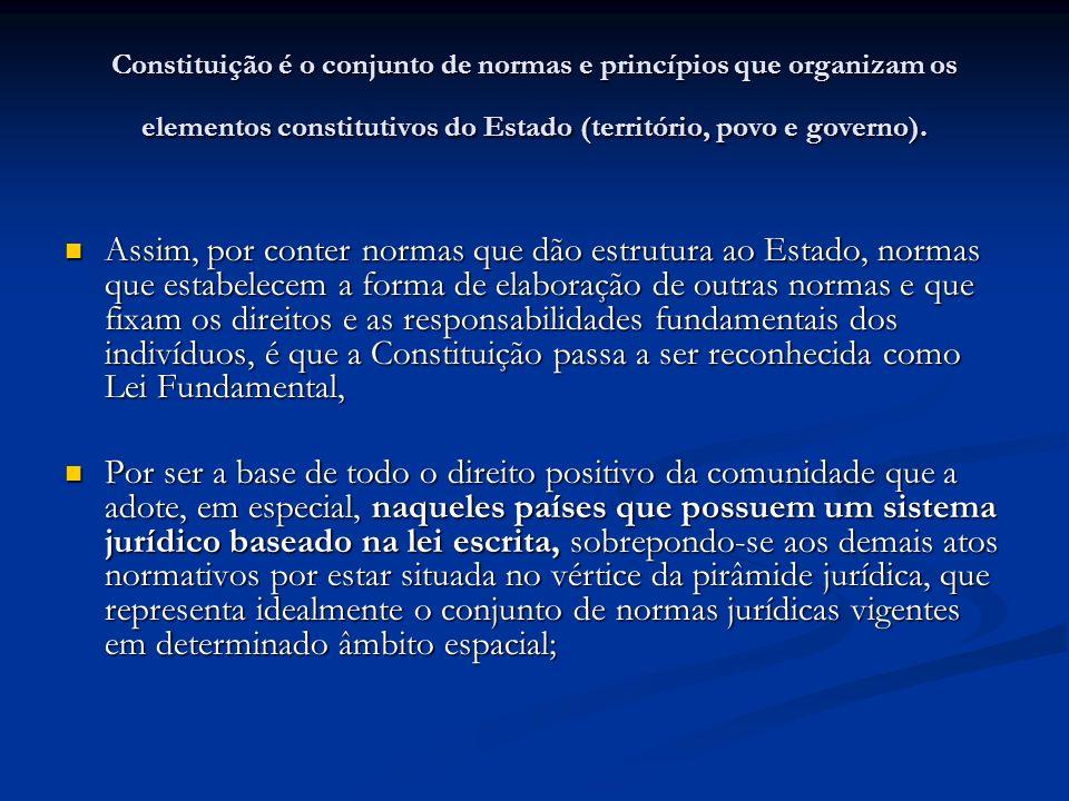 Constituição é o conjunto de normas e princípios que organizam os elementos constitutivos do Estado (território, povo e governo). Assim, por conter no