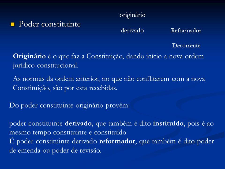Poder constituinte originário derivado Reformador Decorrente Originário é o que faz a Constituição, dando início a nova ordem jurídico-constitucional.