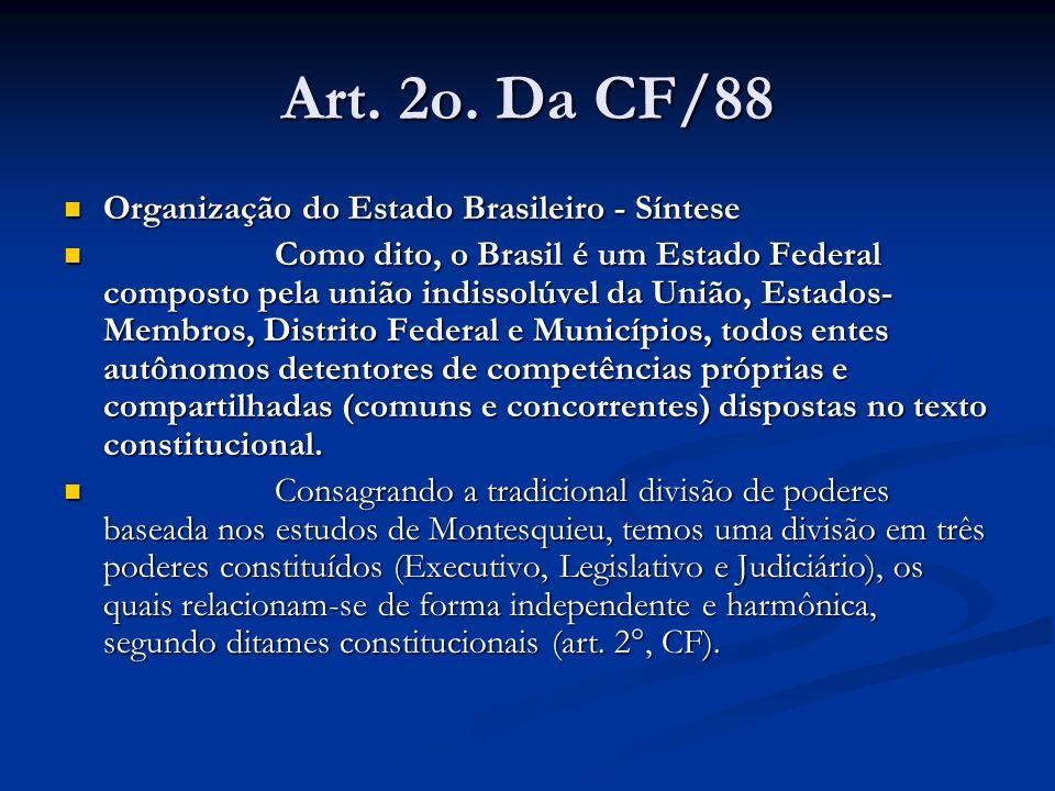 Art. 2o. Da CF/88 Organização do Estado Brasileiro - Síntese Organização do Estado Brasileiro - Síntese Como dito, o Brasil é um Estado Federal compos