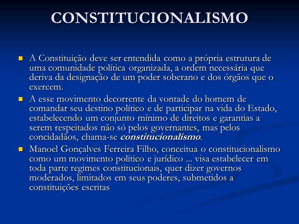 CONSTITUCIONALISMO A Constituição deve ser entendida como a própria estrutura de uma comunidade política organizada, a ordem necessária que deriva da