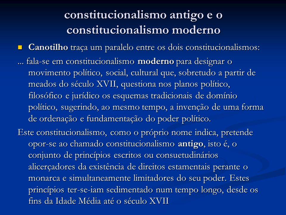 constitucionalismo antigo e o constitucionalismo moderno Canotilho traça um paralelo entre os dois constitucionalismos: Canotilho traça um paralelo en