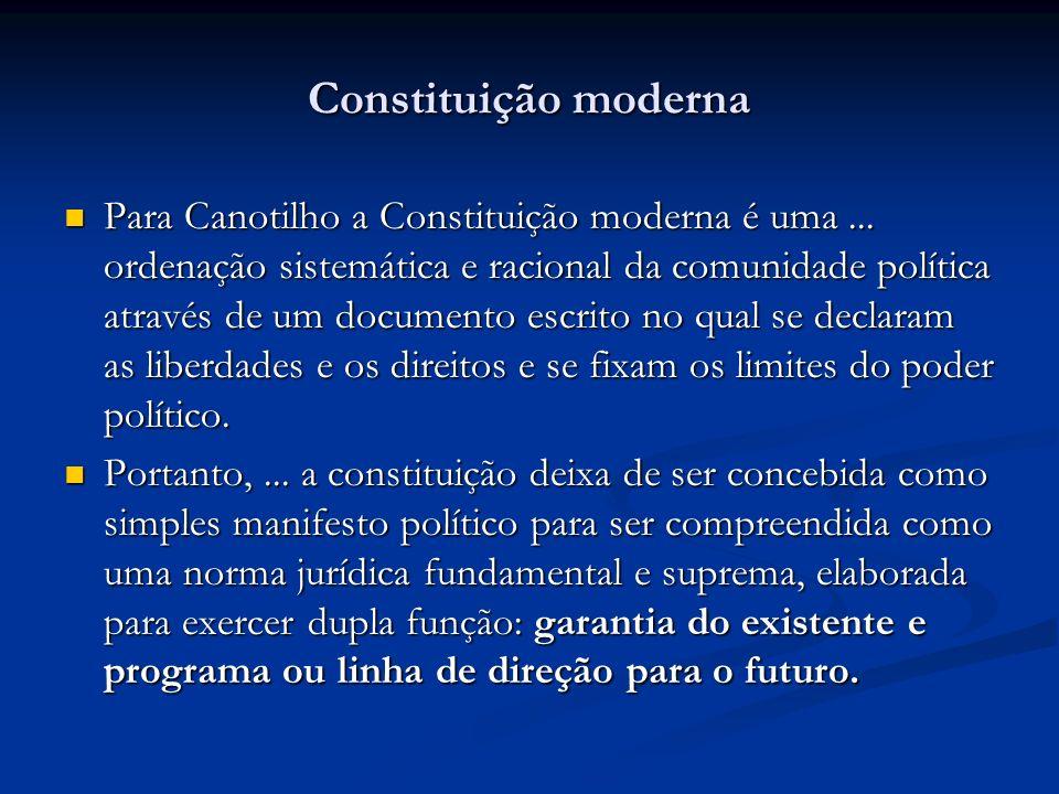 Constituição moderna Para Canotilho a Constituição moderna é uma... ordenação sistemática e racional da comunidade política através de um documento es
