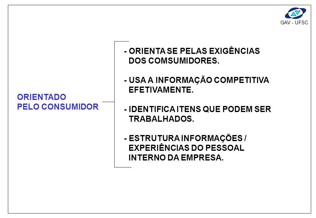 GAV - UFSC CARACTERÍSTICAS BÁSICAS - ORIENTADO PELO CONSUMIDOR - REDUZ TEMPO DE IMPLEMENTAÇÃO - PROMOVE TRABALHO EM EQUIPE - PROVEM DOCUMENTAÇÃO