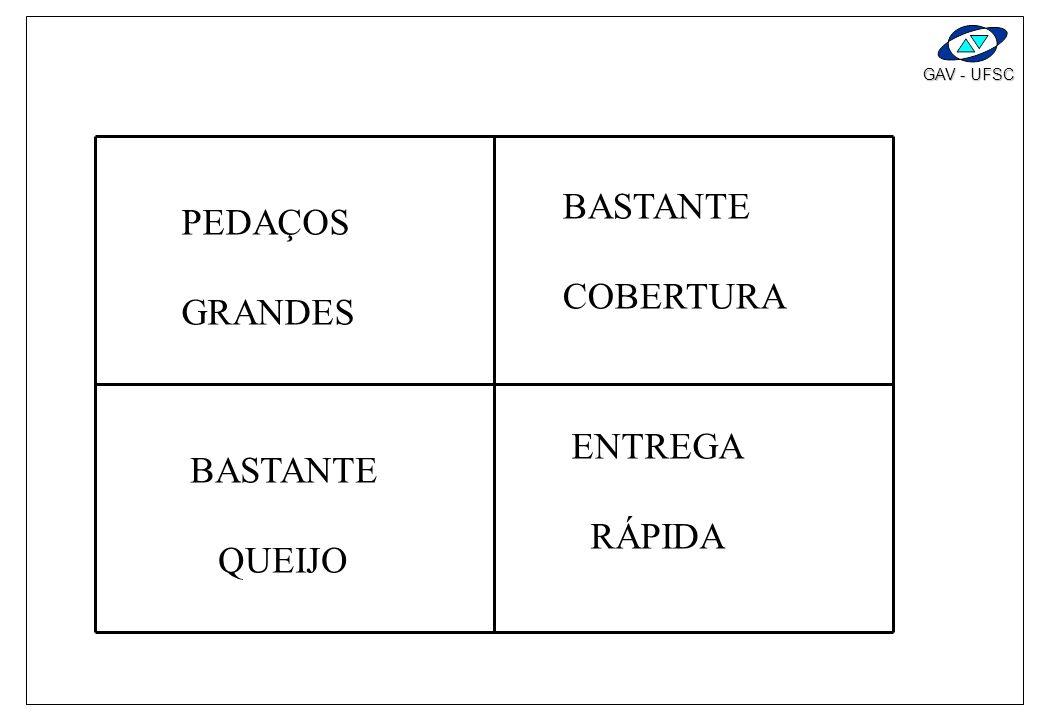 GAV - UFSC ESTUDO DE CASO : Exercício 1 : pizza de queijo. Lista de formulações de consumidores, grau de importância, avaliação da nossa cia, cia a, c