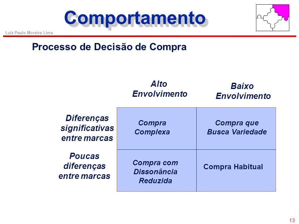 12 Luiz Paulo Moreira Lima Hierarquia de Necessidades de Maslow Necessidades Produtos Farinha, feijão, água encanada Necessidades fisiológicas (básica