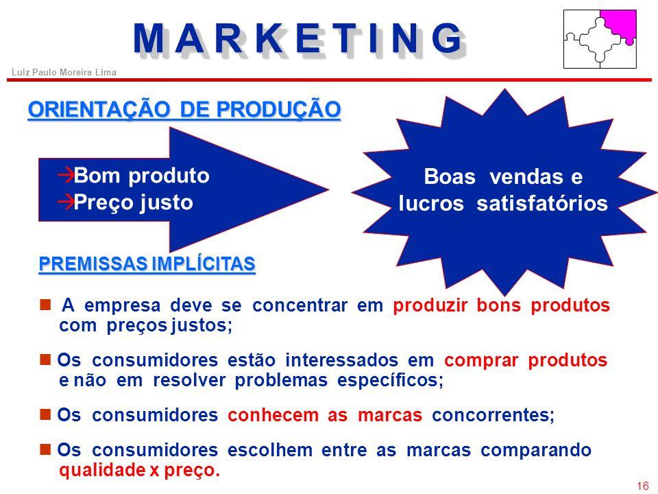 15 Luiz Paulo Moreira Lima AS PRÁTICAS DE ADMINISTRAÇÃO de produção (mais antigo); de vendas; de marketing; de marketing societal; de valor. M A R K E
