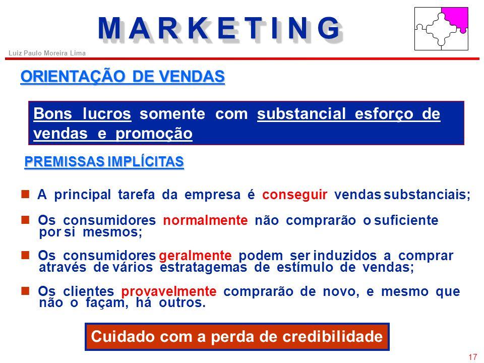 16 Luiz Paulo Moreira Lima ORIENTAÇÃO DE PRODUÇÃO Boas vendas e lucros satisfatórios PREMISSAS IMPLÍCITAS A empresa deve se concentrar em produzir bon