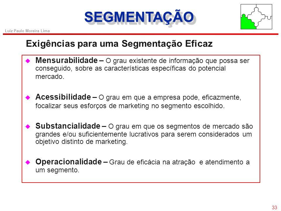 32 Luiz Paulo Moreira Lima SEGMENTAÇÃOSEGMENTAÇÃO Bases para segmentação CritérioExemplos Demográfica Sexo Idade Raça Ocupação Renda Tamanho da famíli