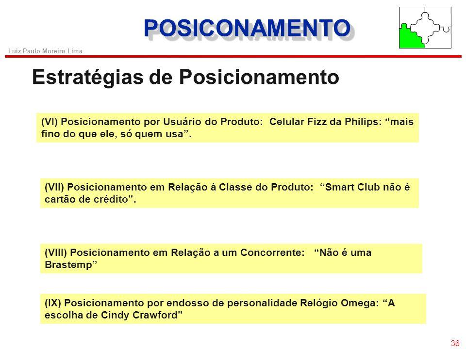 35 Luiz Paulo Moreira Lima POSICIONAMENTOPOSICIONAMENTO Estratégias de Posicionamento (I) Posicionamento por Atributo: Samsung Vip: o menor celular. (