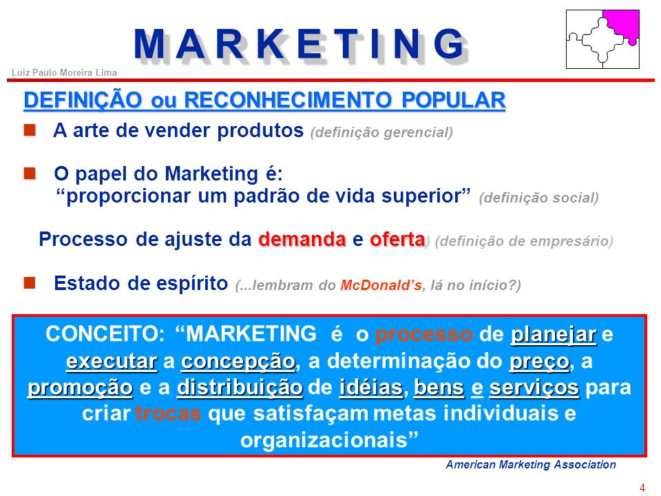 3 Luiz Paulo Moreira Lima FUNDAMENTOS DE MARKETING ÍNDICE O que é Marketing O ambiente de Marketing O composto de Marketing As principais funções do M