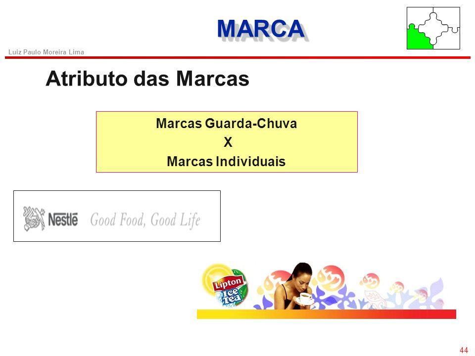 43 Luiz Paulo Moreira Lima MARCAMARCA Atributo das Marcas Marca de Fabricante X Marca de Terceiros Marca X Não Marca Marca Guarda-Chuva X Marcas Indiv