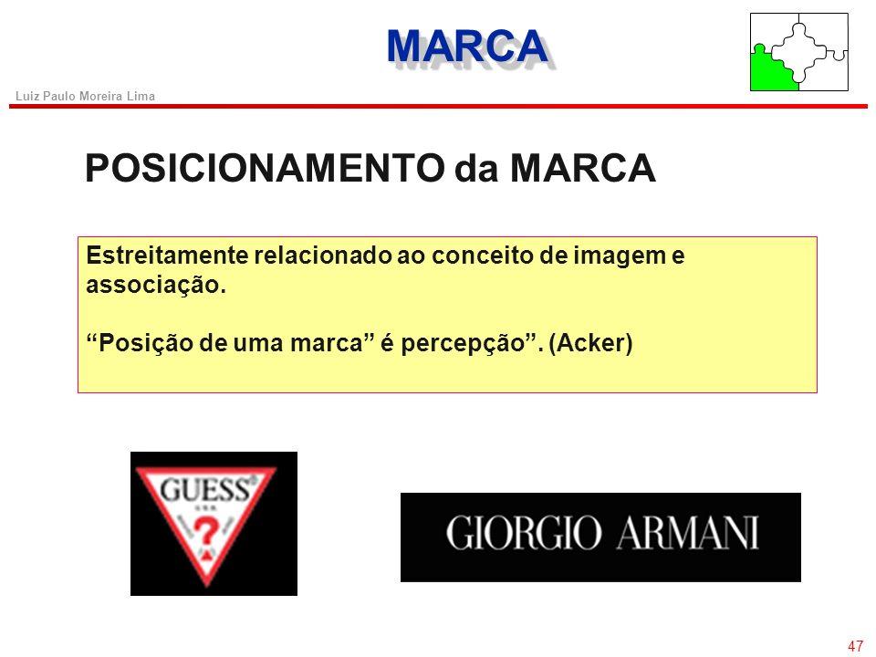 46 Luiz Paulo Moreira Lima MARCAMARCA Formação da Marca 1) Individual 2) Global Para Todos os Produtos 3) Separada por Família 4) Marca da Empresa com