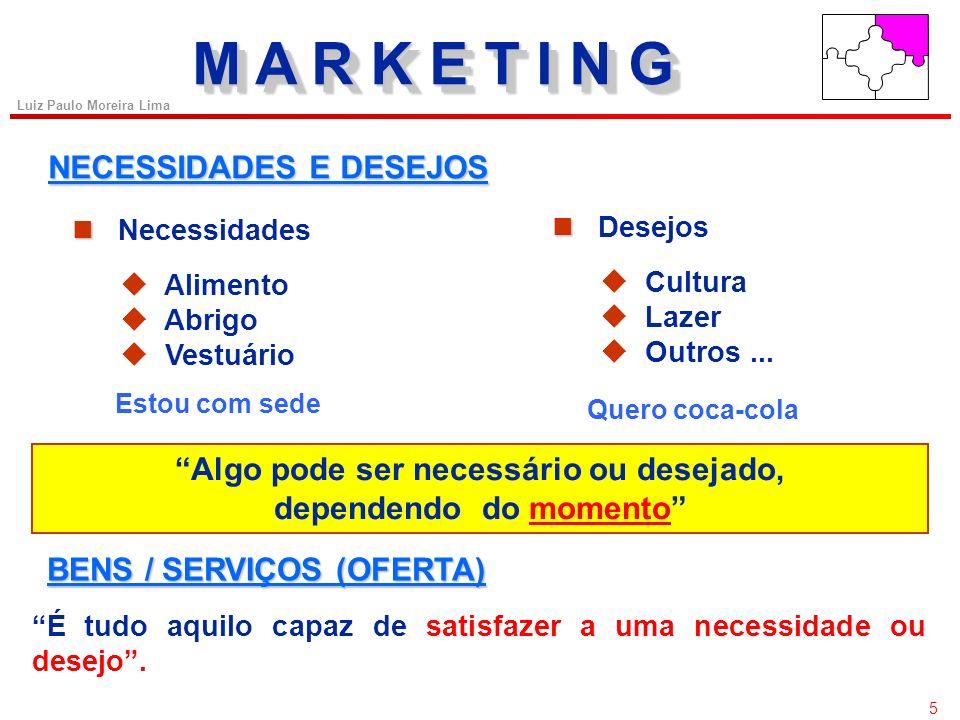 45 Luiz Paulo Moreira Lima MARCAMARCA Atributo das Marcas Marca de Fabricante X Marca de Terceiros 1.Definição estratégica (níveis de investimento, dependência e margens de lucro); 2.Imagem da marca; 3.Percepção do consumidor (valor agregado); 4.lealdade