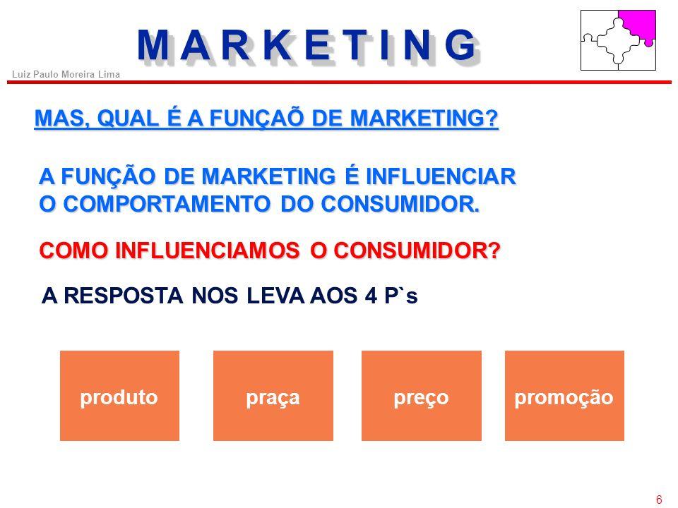 56 Luiz Paulo Moreira Lima COMPOSTO DE MARKETING Fatores Psicológicos da Formação de Preços Os compradores potenciais usarão o preço como um indicador da qualidade do produto.