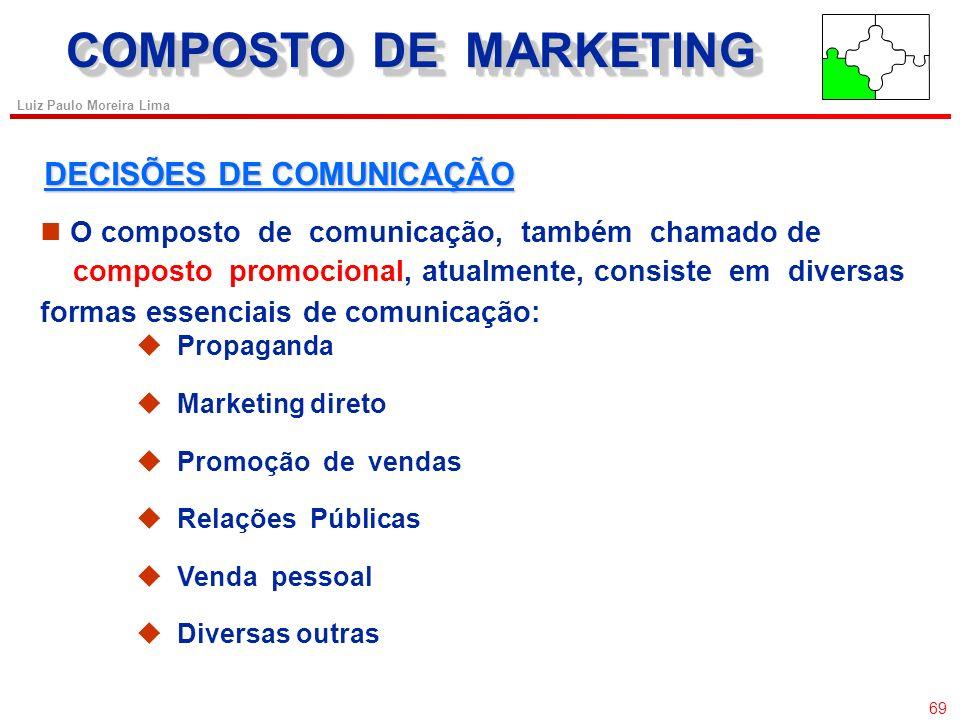 68 Luiz Paulo Moreira Lima COMPOSTO DE MARKETING O Composto da Comunicação PropagandaVenda Pessoal Promoção de Vendas Publicidade Modelo original de c