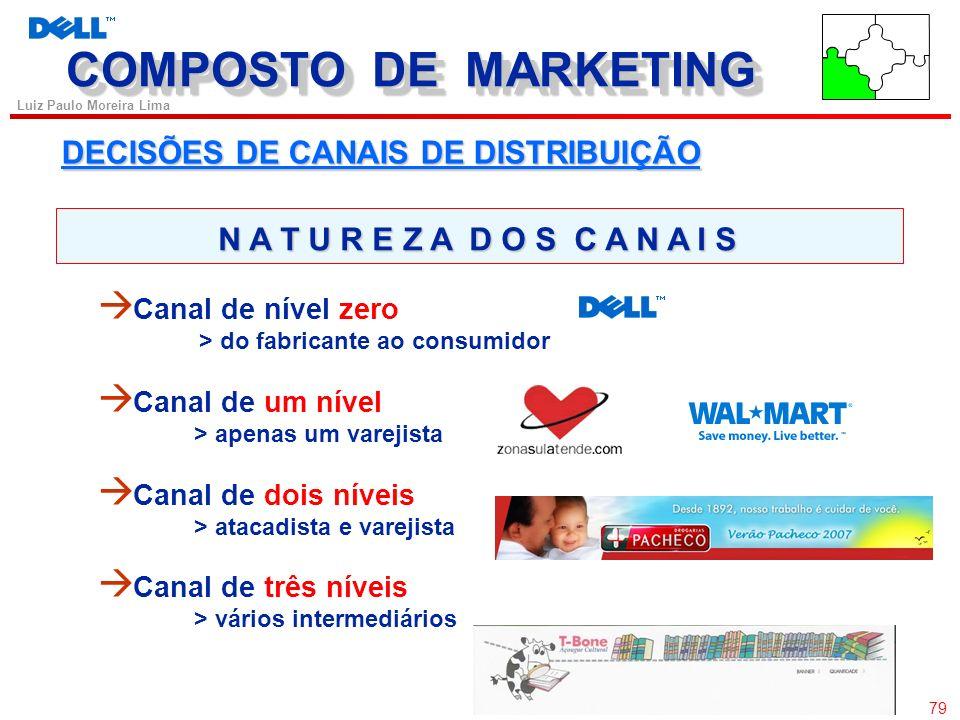 78 Luiz Paulo Moreira Lima DECISÕES DE CANAIS DE DISTRIBUIÇÃO produto ou serviço para uso ou consumo Os canais de marketing são conjuntos de organizaç