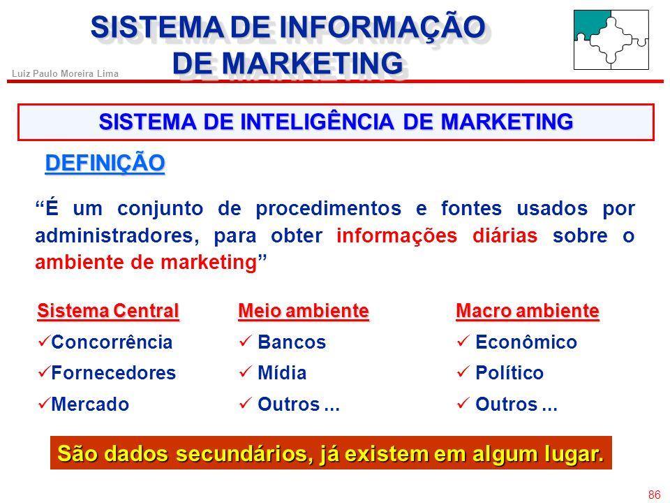 85 Luiz Paulo Moreira Lima SISTEMA DE INFORMAÇÃO DE MARKETING SISTEMA DE INFORMAÇÃO DE MARKETING MODELO DE KOTLER SISTEMA DE INFORMAÇÃO DE MARKETING A