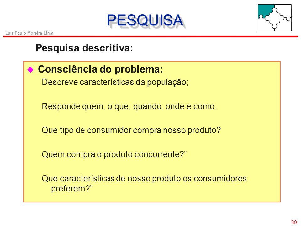 88 Luiz Paulo Moreira Lima u Problemas ambíguos: Não pretende oferecer evidências conclusivas Busca-se uma melhor compreensão das dimensões do problem