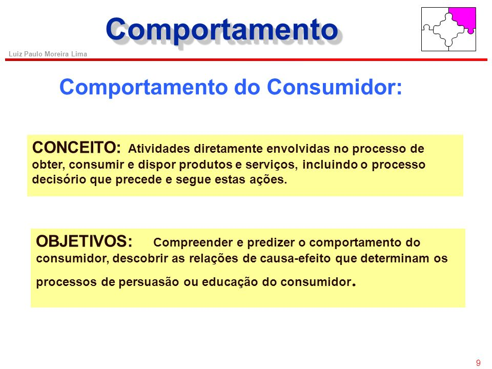 9 Luiz Paulo Moreira Lima ComportamentoComportamento Comportamento do Consumidor: CONCEITO: Atividades diretamente envolvidas no processo de obter, consumir e dispor produtos e serviços, incluindo o processo decisório que precede e segue estas ações.