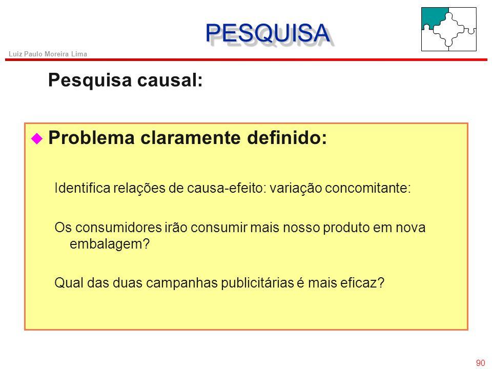 89 Luiz Paulo Moreira Lima u Consciência do problema: Descreve características da população; Responde quem, o que, quando, onde e como. Que tipo de co