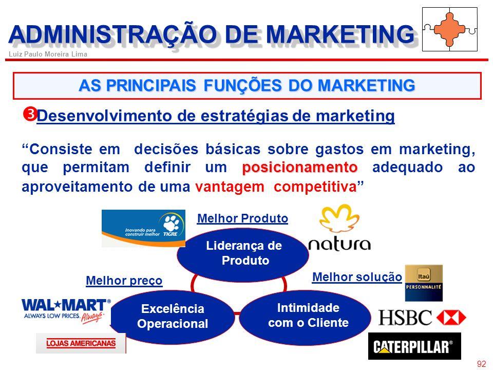 91 Luiz Paulo Moreira Lima AS PRINCIPAIS FUNÇÕES DO MARKETING Análise de oportunidades de mercado Uma oportunidade de mercado de uma empresa é uma áre
