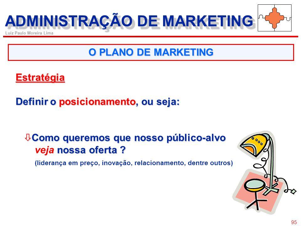 94 Luiz Paulo Moreira Lima ADMINISTRAÇÃO DE MARKETING Análise externa Análise Interna Situações favoráveis e desfavoráveis Pontos Fortes e Fracos Amea