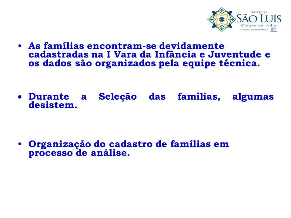 As famílias encontram-se devidamente cadastradas na I Vara da Infância e Juventude e os dados são organizados pela equipe técnica. Durante a Seleção d